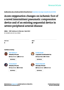 Acute oxygenation changes on ischemic foot...